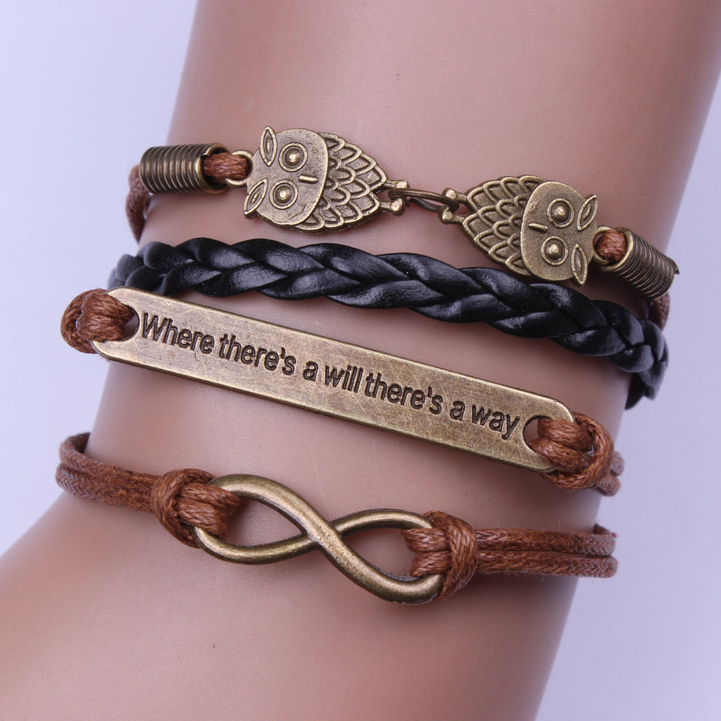 Motivational Owl Woven Bracelet - Oh Yours Fashion