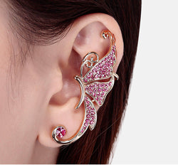 Beautiful Crystal Butterfly Single Ear Clip - Oh Yours Fashion - 1