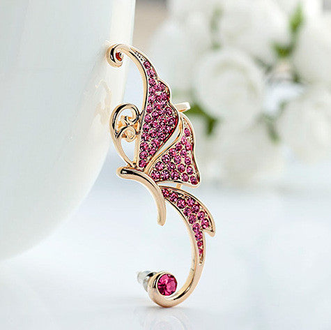 Beautiful Crystal Butterfly Single Ear Clip - Oh Yours Fashion - 3