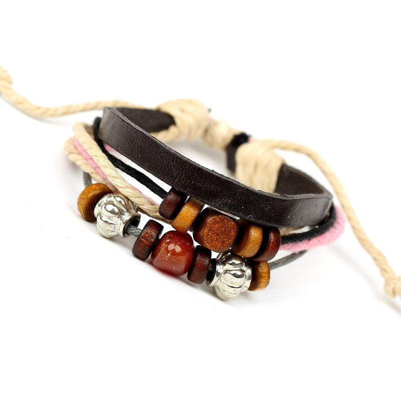 Colorful Beaded Leather Multilayer Bracelet - Oh Yours Fashion - 3