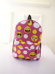 Leisure Smiling Face Emoji Print Female Canvas Backpack Bag - Oh Yours Fashion - 2