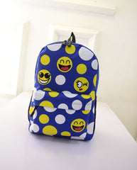 Leisure Smiling Face Emoji Print Female Canvas Backpack Bag - Oh Yours Fashion - 3