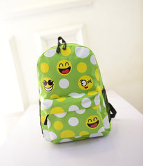 Leisure Smiling Face Emoji Print Female Canvas Backpack Bag - Oh Yours Fashion - 5