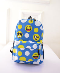 Leisure Smiling Face Emoji Print Female Canvas Backpack Bag - Oh Yours Fashion - 4