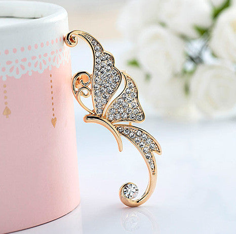 Beautiful Crystal Butterfly Single Ear Clip - Oh Yours Fashion - 2
