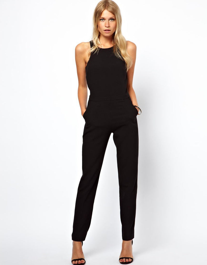 Black Scoop Sleeveless Hollow Out Back Long Jumpsuit - Oh Yours Fashion - 4