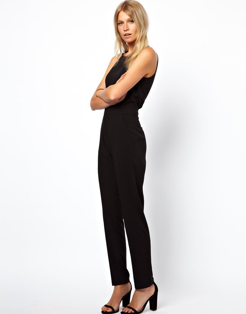 Black Scoop Sleeveless Hollow Out Back Long Jumpsuit - Oh Yours Fashion - 5