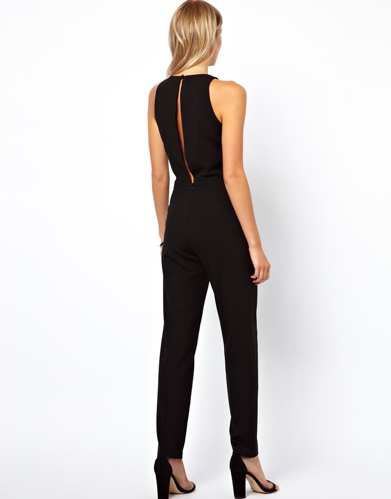 Black Scoop Sleeveless Hollow Out Back Long Jumpsuit - Oh Yours Fashion - 6
