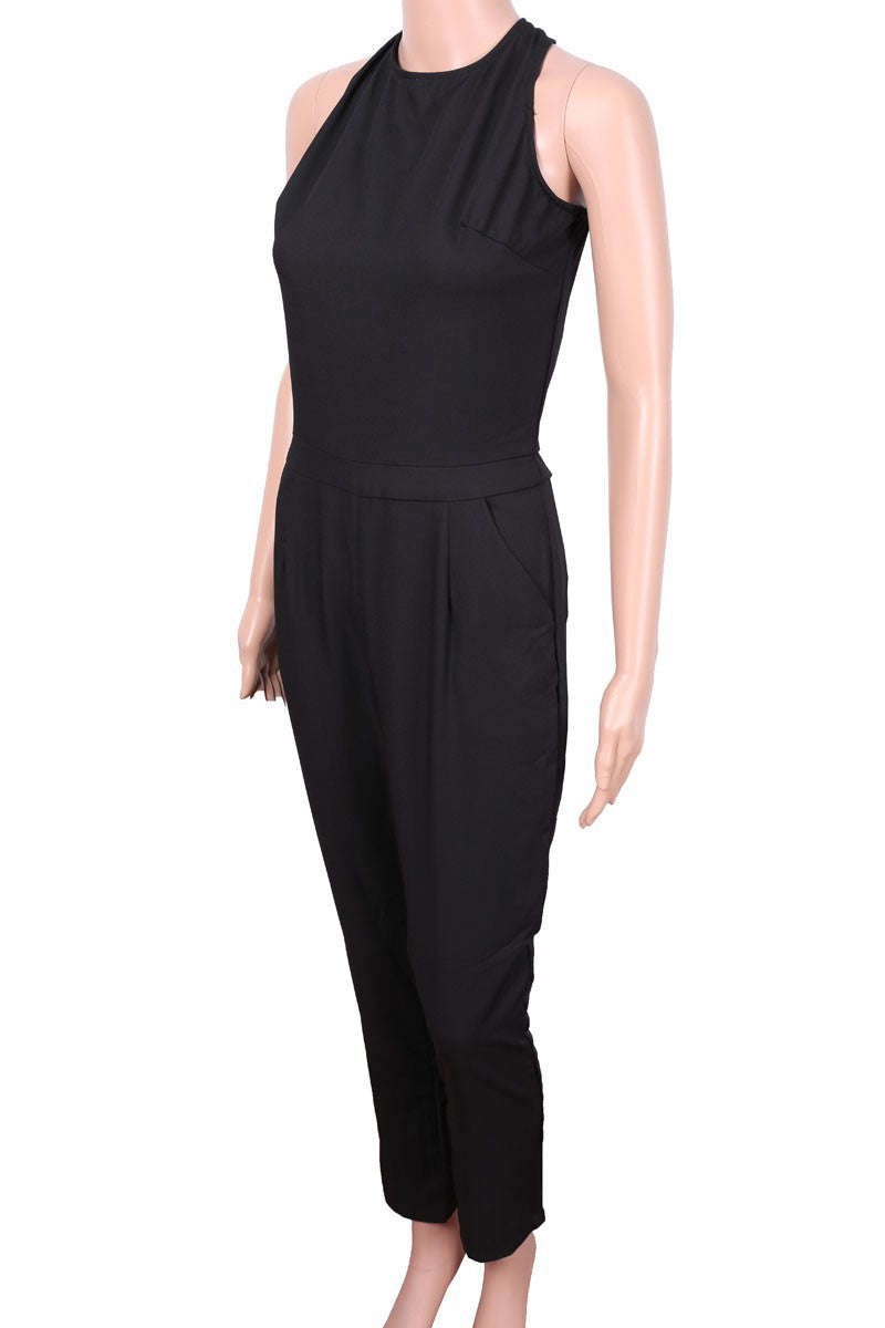 Black Scoop Sleeveless Hollow Out Back Long Jumpsuit - Oh Yours Fashion - 7