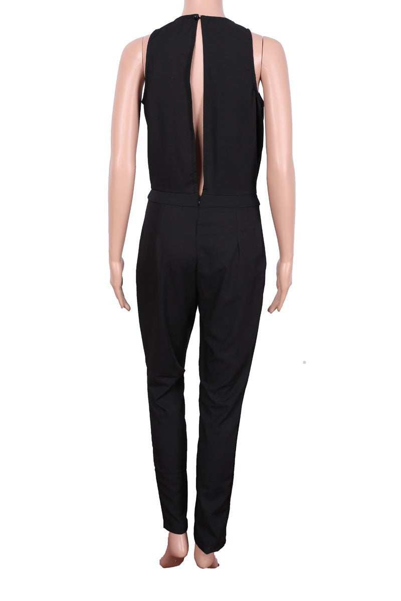 Black Scoop Sleeveless Hollow Out Back Long Jumpsuit - Oh Yours Fashion - 8