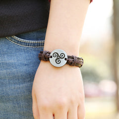 Carving Flower Woven Leather Bracelet - Oh Yours Fashion - 2