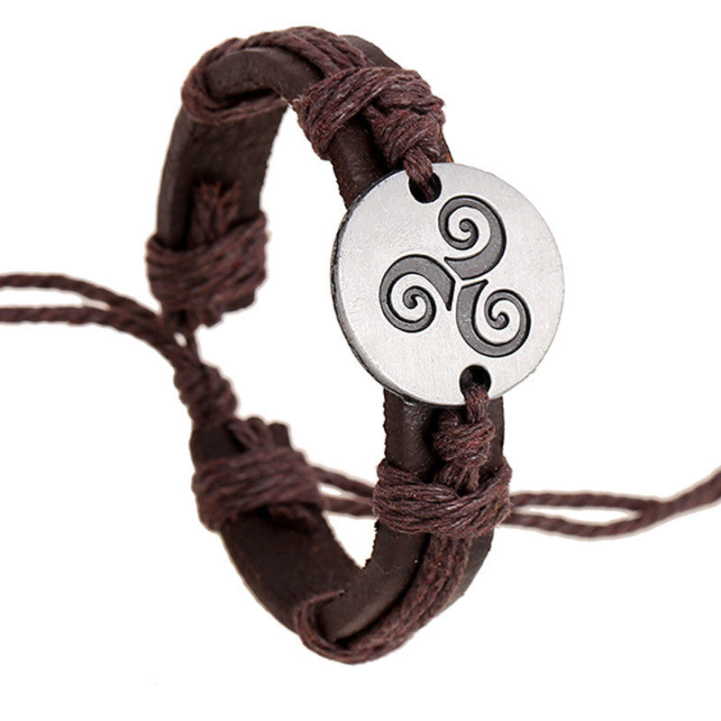 Carving Flower Woven Leather Bracelet - Oh Yours Fashion - 1
