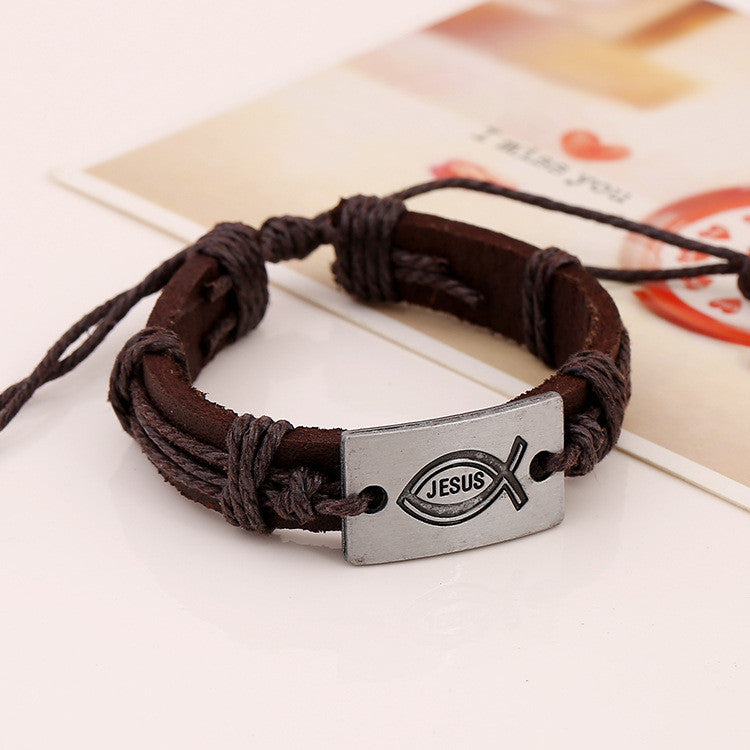 Alloy Jesus Fish Wintage Leather Bracelet - Oh Yours Fashion - 2