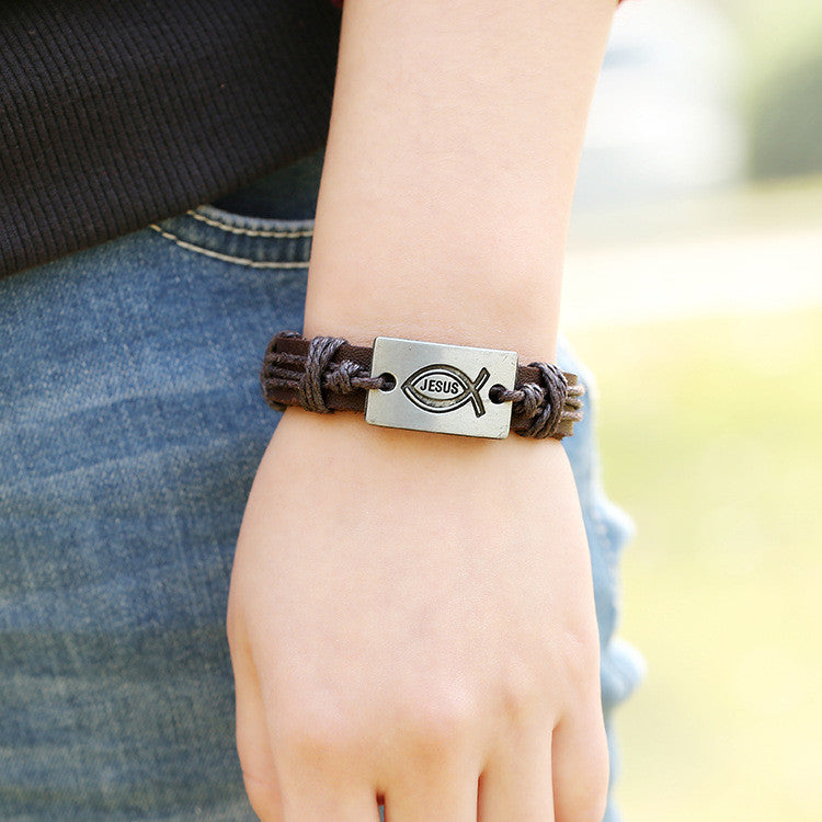 Alloy Jesus Fish Wintage Leather Bracelet - Oh Yours Fashion - 3