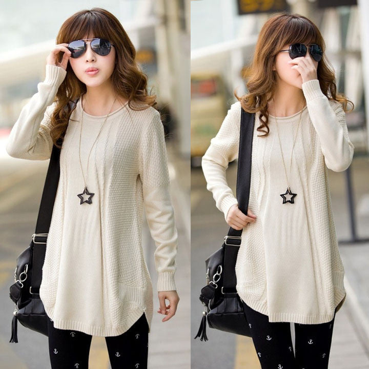 Women's Loose Knit Pullover Sweater - O Yours Fashion - 2