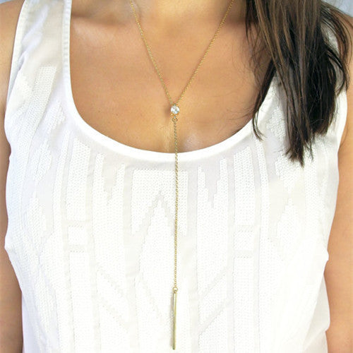 Metal Tassel Lady's Long Sweater Chain Necklace - Oh Yours Fashion - 1