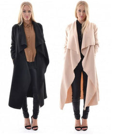 Lapel Solid Asymmetric Loose Long Coat - Oh Yours Fashion - 2