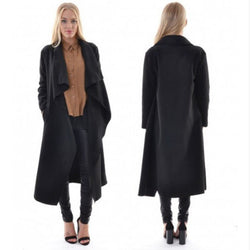 Lapel Solid Asymmetric Loose Long Coat - Oh Yours Fashion - 4