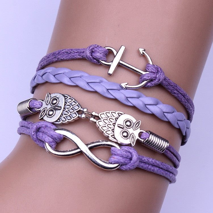 The Owl Boat Anchor Woven Bracelet - Oh Yours Fashion