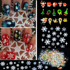 12 Sheets Christmas Snowflakes Santa Trees Design Nail Art Stickers Decals - Oh Yours Fashion - 2