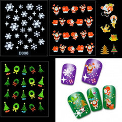 12 Sheets Christmas Snowflakes Santa Trees Design Nail Art Stickers Decals - Oh Yours Fashion - 1