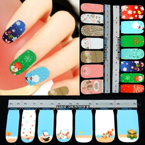 42Pcs Christmas Nail Art Sticker Full Wrap Patch Decal - Oh Yours Fashion