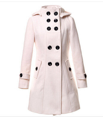 Double Button Hooded Long Sleeves Mid-length Wool Thick Coat - Oh Yours Fashion - 7