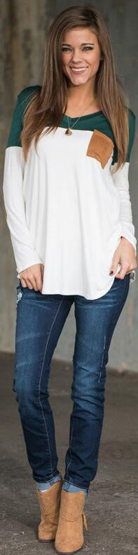 Fashion Contrast Color Long-Sleeve Round Neck Blouse - Oh Yours Fashion - 2