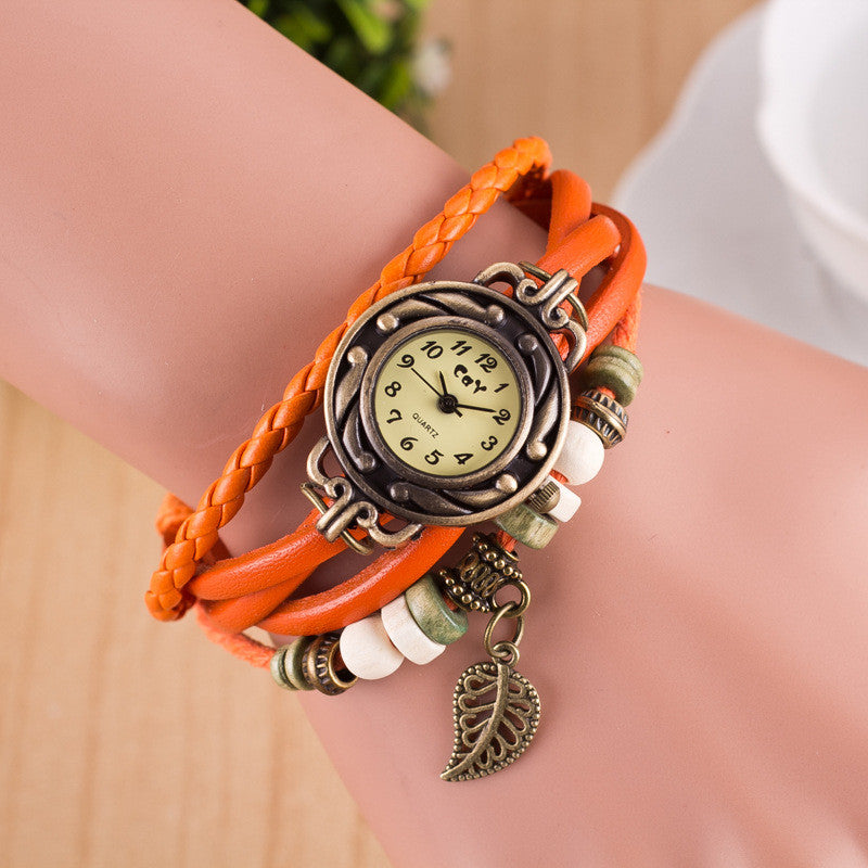 Hollow Out Leaf Multilayer Watch - Oh Yours Fashion - 7