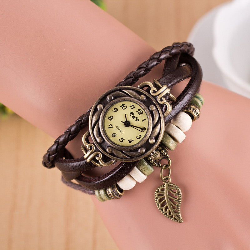 Hollow Out Leaf Multilayer Watch - Oh Yours Fashion - 8