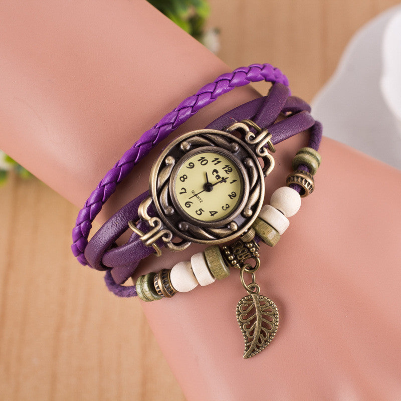 Hollow Out Leaf Multilayer Watch - Oh Yours Fashion - 3