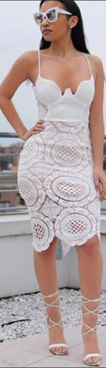 Sexy White Spaghetti Strap Hollow Out Lace Patchwork Knee-Length Dress - Oh Yours Fashion - 2