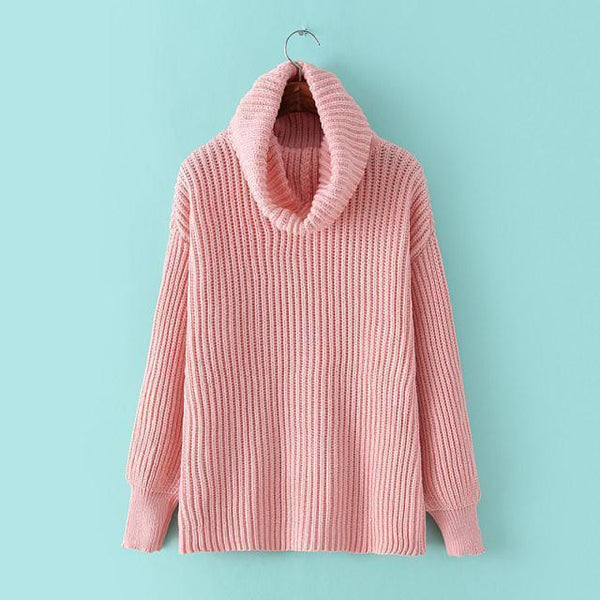 Lapel Pullover Loose High Collar Solid Sweater - Oh Yours Fashion - 1