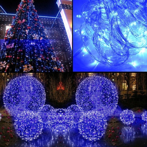 10M 100 LED Blue Lights Decorative Christmas Party Festival Twinkle String Lamp Bulb With Tail Plug 220V EU