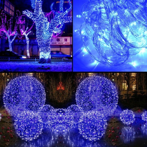 10m 100 led blue lights decorative christmas party. Black Bedroom Furniture Sets. Home Design Ideas