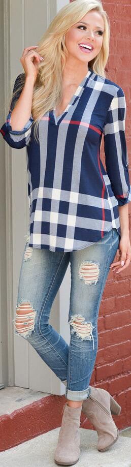 V-neck Plaid Print 3/4 Sleeves Loose Blouse - Oh Yours Fashion - 3