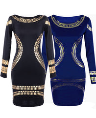 Gold Foil Long Sleeves Tunic Party Bodycon Dress - O Yours Fashion - 3