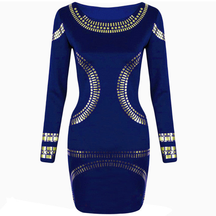 Gold Foil Long Sleeves Tunic Party Bodycon Dress - O Yours Fashion - 8
