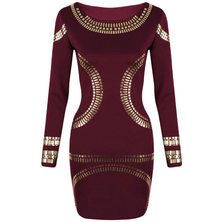 Gold Foil Long Sleeves Tunic Party Bodycon Dress - O Yours Fashion - 6