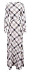 A-line Plaid Long Sleeves Long Party Dress - Oh Yours Fashion - 5
