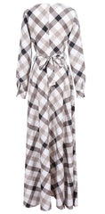 A-line Plaid Long Sleeves Long Party Dress - Oh Yours Fashion - 6