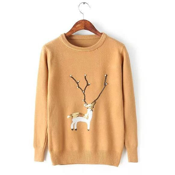 Scoop Ribbed Knit Cartoon Pattern Loose Pullover Short Sweater - Oh Yours Fashion - 5