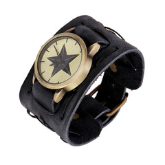 Punk Style Star Dial Leather Woven Watch - Oh Yours Fashion - 1