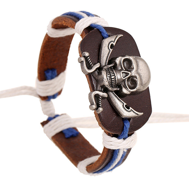 Original Skull Woven Leather Bracelet - Oh Yours Fashion - 1