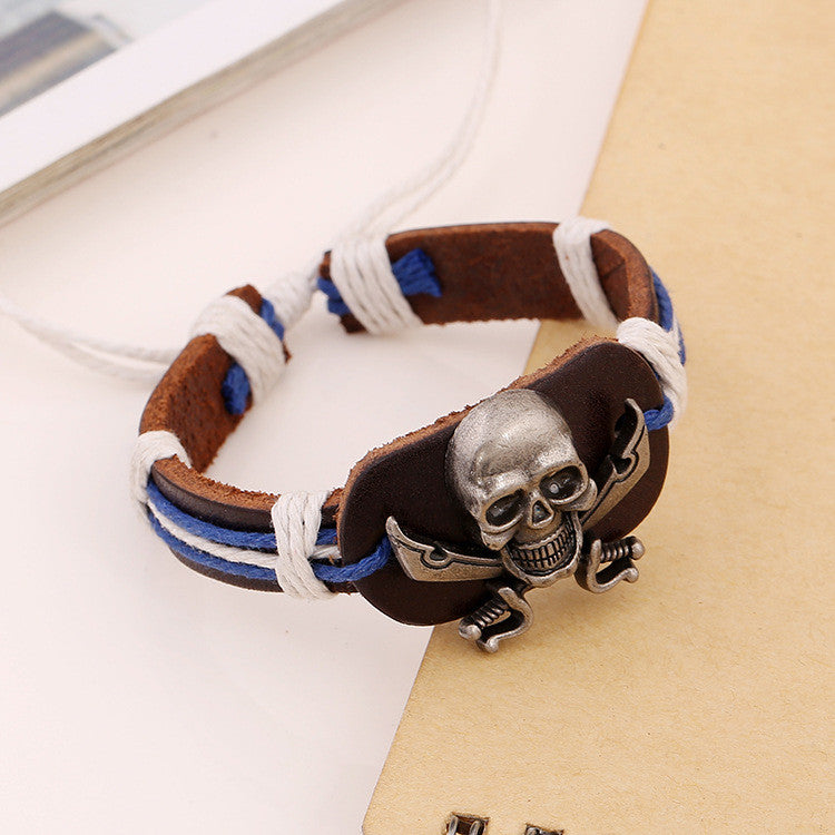Original Skull Woven Leather Bracelet - Oh Yours Fashion - 2