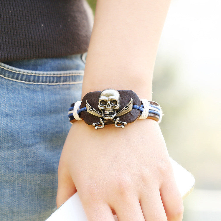 Original Skull Woven Leather Bracelet - Oh Yours Fashion - 3
