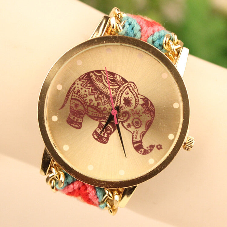 Wool Knitting Strap Elephant Print Watch - Oh Yours Fashion - 1
