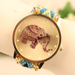 Wool Knitting Strap Elephant Print Watch - Oh Yours Fashion - 3