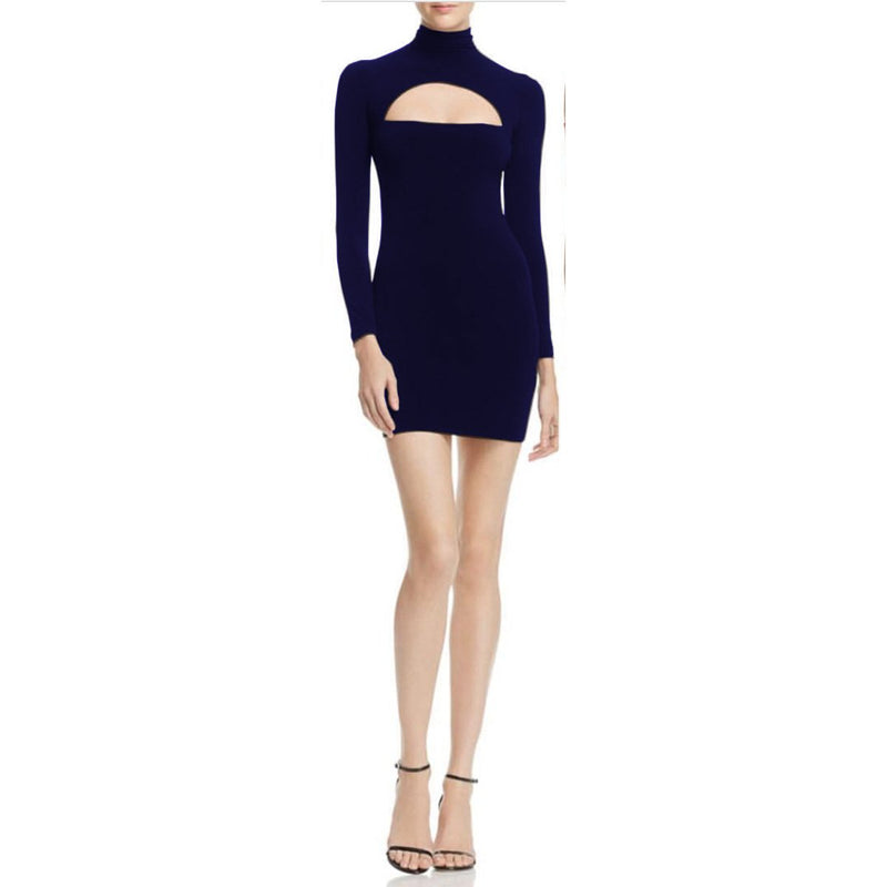 Hollow Out Long Sleeve Knee Length Bodycon Dress