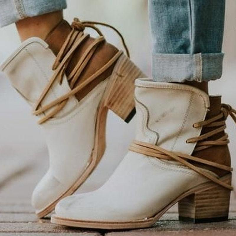 Chunky Heel Leather Ankle Boots